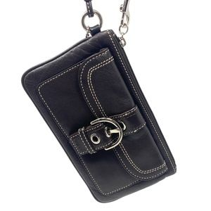 Coach Brown Leather Wristlet with Silver Buckle